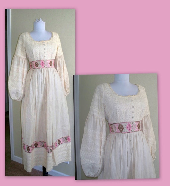 Vintage 70s hippie peasant gypsy dress, lace, embroidery, gorgeous