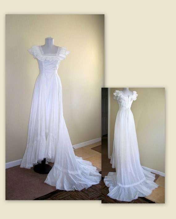 Vintage wedding dress white eyelet gown with by for White cotton eyelet wedding dress