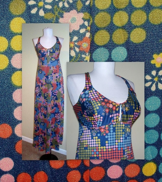 Vintage Nylon abstract geometric dot dress....perfect for summer sun