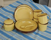 Vintage Yellow Enamelware set - dishes, bowls, cups with brown trim
