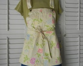 Shorty bib apron recycled from floral overalls