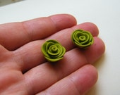Olive Green Rose Stud Earrings