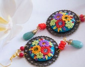 Reserved for Terry - Party of Colors Polymer Clay Embroydered Dangling Earrings