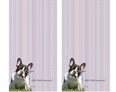 Pied French Bulldog Lavender Note Pads, Optional Magnetic Backing, Set of 2 Pads, Forty Pages in Each Pad