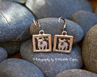 French Bulldog Earrings, French Bulldog  Silver Pendant Earrings