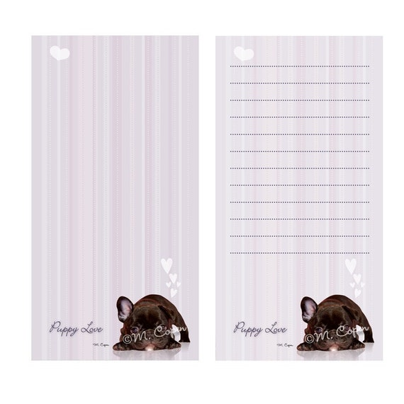 LAST SET: Sale - French Bulldog Lavender Note Pads, Optional Magnetic Backing, Set of 2 Pads, Forty Pages in Each Pad