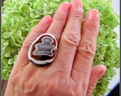 Ghostbuster Bold earth ton adjustable cocktail bold fused glass ring