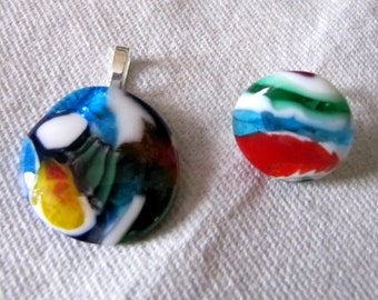Pendant and ring adjustable bold multicolored fused glass set high fashion