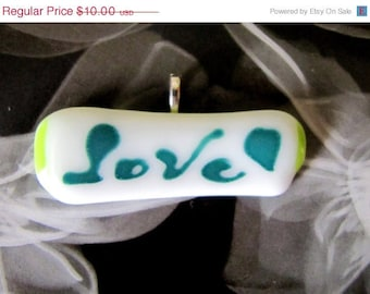 """LOVE horizontal fused glass white and green pendant 2.5"""""""