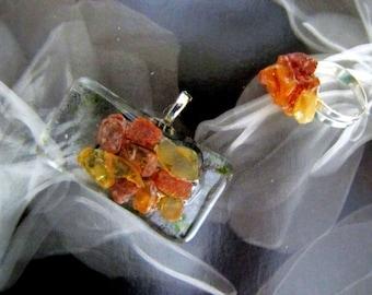 Original OOAK Fused Glass Amber Pendant Adjustable Ring