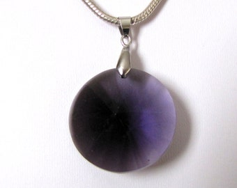 Amethyst Crystal large pendant set in 14k white gold plated bail
