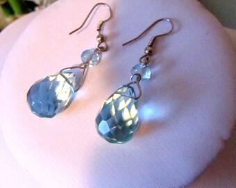 Bohemian briolette crystal  aqua colour tea drops  hoop earrings very bold sparkling amazingly