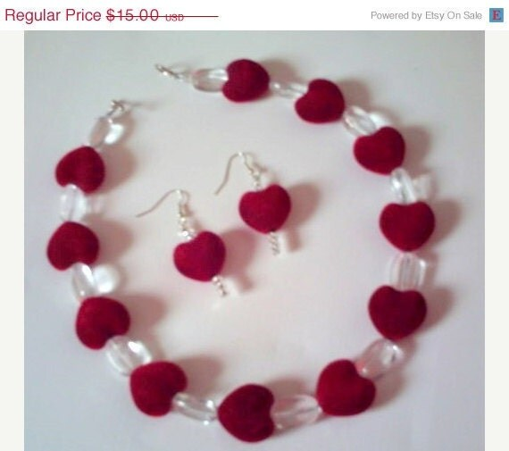 HANDMADE Velvet red hart necklace and earring's with crystal glass beads choker Ooak