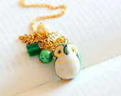Green and Yellow Owl Necklace. Ceramic Owl Cluster Charm Necklace.