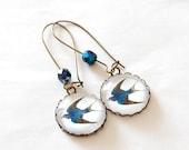 Swallow Earrings. Blue Bird Earrings. Vintage & Tattoo Inspired. Bronze Cameo, Czech Glass, Glass Dome.