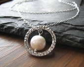 Layered Silver Necklace, Pearl Necklace with Hammered ring