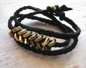 Black Leather Wrap Bracelet, Unisex Bracelet, Chevron, Brass Nuts