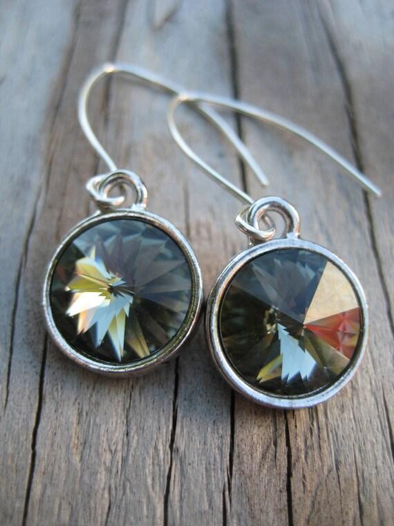 Long Silver Crystal Dangle Earrings