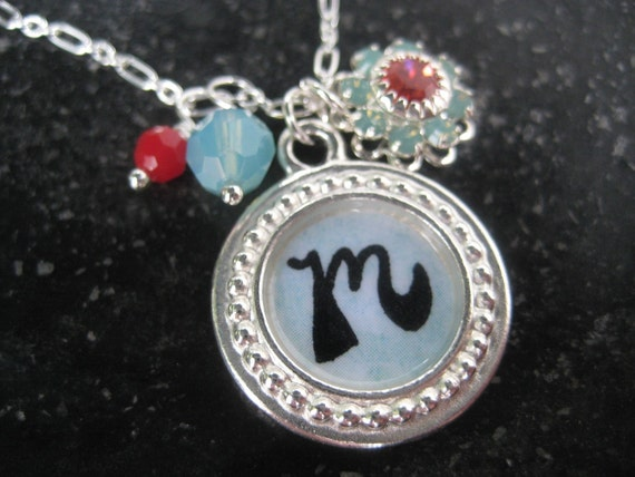 Personalized Necklace, Aqua and Red