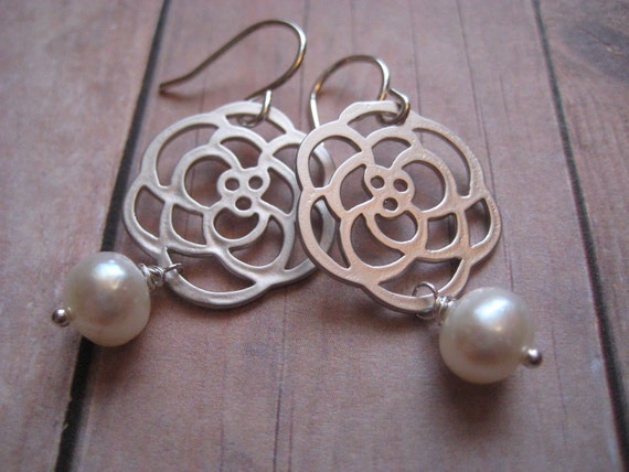 Silver and Pearl Earrings, Silver Flower Charm, Pearl Earrings