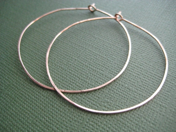 Hoop Earrings, Hand Made, Hand Forged, 2 inch