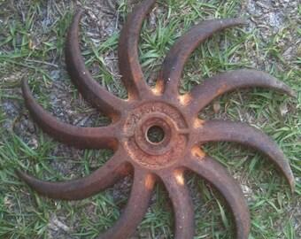 Vintage Rusty Crusty Culitvator Farm Implement