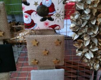 Mod Shabby Christmas Santa and Burlap Wall Hanging