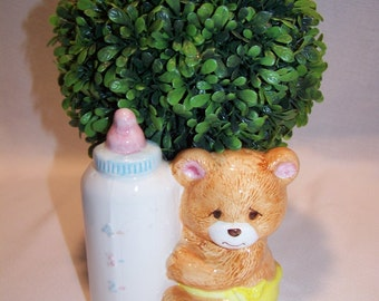 Vintage Inarco Baby Bear and Bottle Vase Nursery Decor