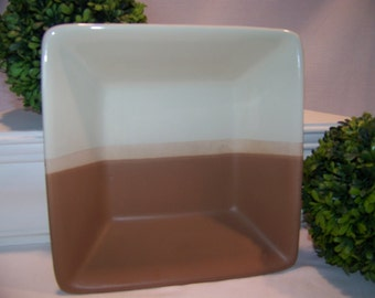 Square Pottery Bowl Brown and Tan Square Modern Pottery Serving Bowl