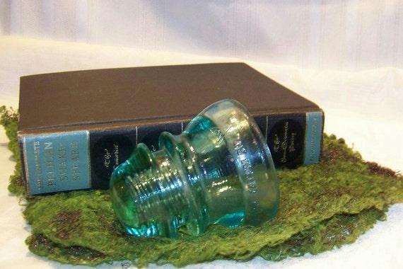 Antique Green Glass Insulator, Telegraph Pole Glass Insulator, Whitall Tatum Co. No 1