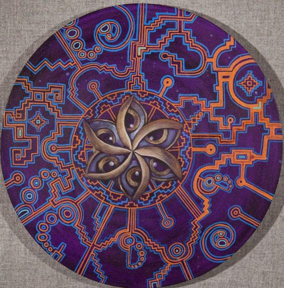 Shipibo sacred geometry crop circle art print
