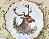 Vintage Reindeer Stag Buck Porcelain Plate As Is