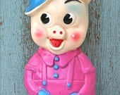 Vintage Vinyl Pig Piggy Bank