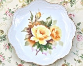Reserved For Christine Vintage  Lefton China  Collectors Plate Yellow Roses Japan