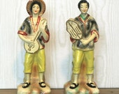 Vintage Asian Chalkware Figurines Musicians