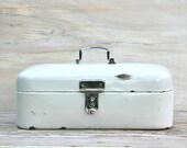 Reserved For Kim Antique White Enamel Metal Bread Box Or Medical Kit Czechoslovakia 1920s