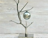 Vintage Mercury Glass Ball Ornament  Steel Blue Frosted Design