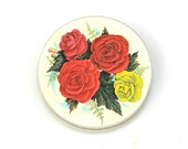 Circa 1950s  Shabby Tin English Red Yellow Roses