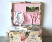 Vintage Shabby Floral Quilted Sewing Box