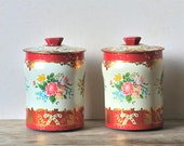 Vintage Tin Candy Canisters Matching Set Red Floral George W Horner, England