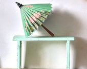Reserved for garterfeind Vintage Aqua Sea Foam Green Shabby Bench Home Made