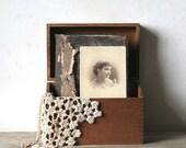 Vintage Dovetail Wooden File Box