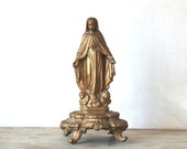 Reserved For YRNA Vintage Metal Religious Statue Mother Mary