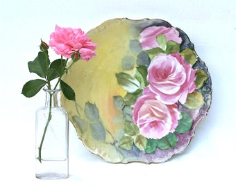 Limoges Plate, Antique Limoges  LDBC Flambeau Hand Painted Artist Signed Plate Charger