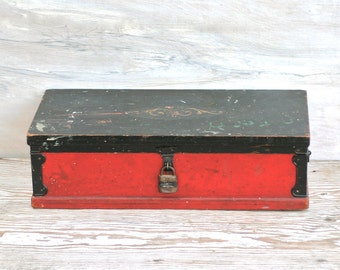 SALE! Was 98 Now 75! Tool Chest, Wood Circa 1927 Buddy L Tool Chest Number 4 Red Black Rustic Folk Primitive