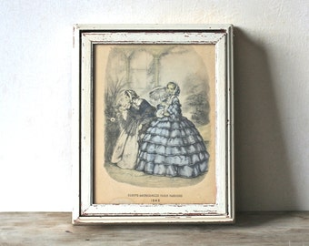 Vintage Wood  Vanity Dresser Jewelry Trinket  Box Framed Godey Fashion Print