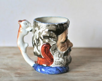 Toby Mug, Ceramic Face Vintage Character Toby Mug Squirrel handle Japan