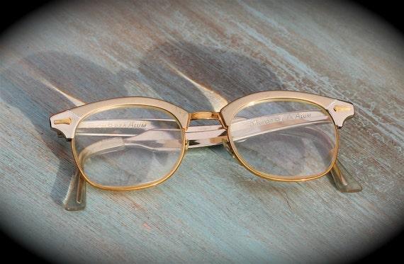 Eyeglass Frames Two Tone : Vintage Shuron Aluminum Eyeglass Frames Two Tone Gold