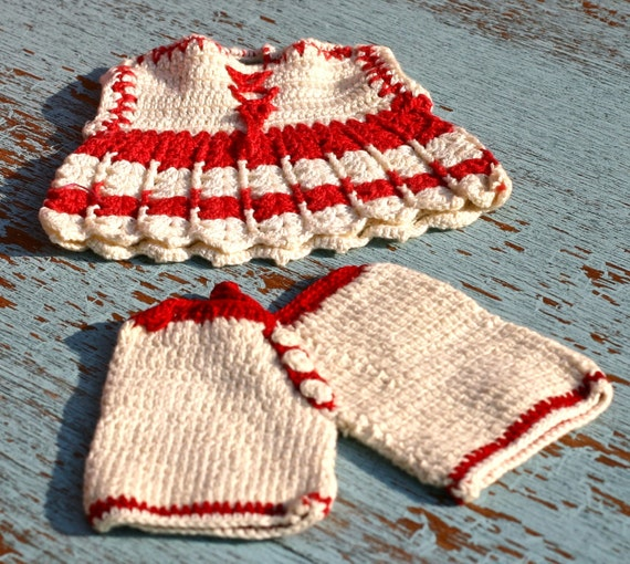Vintage Pot Holders Red White Crochet Top and Pants