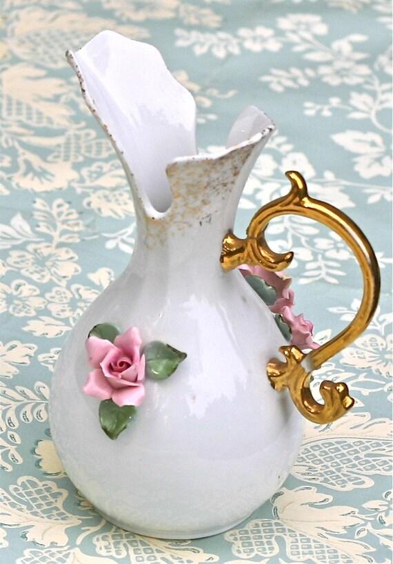 Vintage Lefton China Vase Pitcher Pink Roses Gold Handle